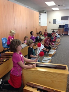 Students learn ensemble collaboration with Orff Instruments