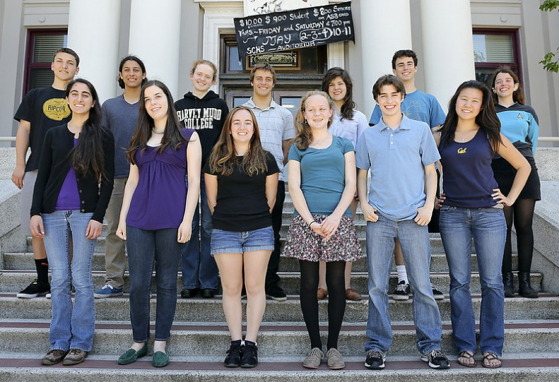 Santa Cruz High 2013 valedictorians (bottom row from left) Natalia Kazimi, Julia Chase, Christina Cole, Gillian Rexroad, Justin Szasz, Rachel Zhang, (top row from left) Anthony Katz, Daniel Berrios, Linnea Nelson, Austin Park, Claire Grishaw-Jones,Maceo Hastings-Porro and Giselle Kahn are seen standing on the Santa Cruz High School entrance steps. (Kevin Johnson/Sentinel)