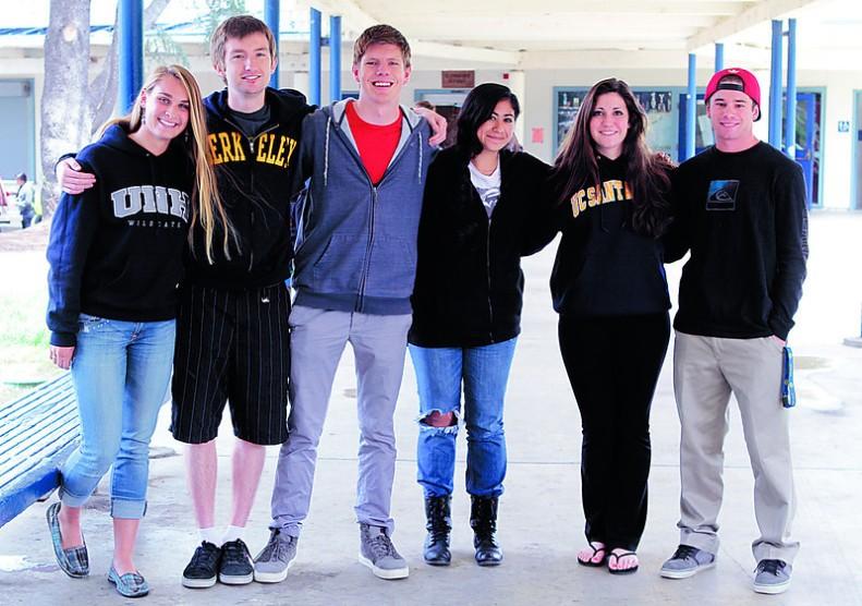 Soquel High School valedictorians, from left, Christina Foster, Graham Denevan, Caleb Gotthardt, Gloria Nava, Tyler Stewart and Andrew McCawley-Schmidt. (Shmuel Thaler/Sentinel)